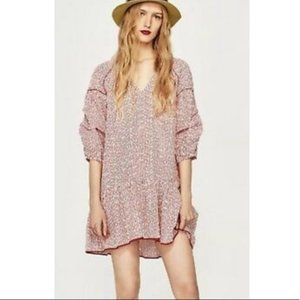 NWT Zara striped embroidered floral eyelet dress